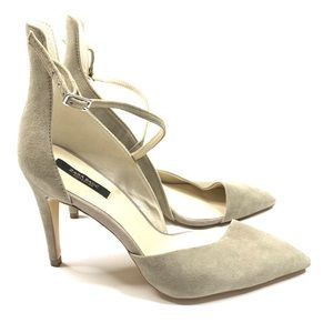 Zara Suede Heels Pointed Asymmetrical High Back